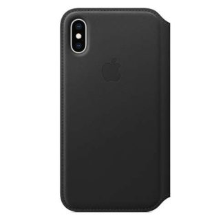 Apple - Apple iPhone XS Leather Folio - Black MRWW2ZM/A -