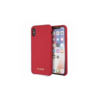 GUESS - GUHCPXLSGLRE Guess Silicone Cover Gold Logo Red pro iPhone X/XS - 3700740432938