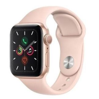 Apple - Apple Watch Series 5 GPS 44 mm Aluminium Gold witch Pink Sand Sport Band - 190199263987